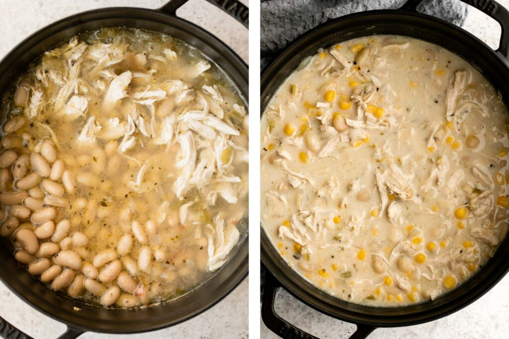 White chicken chili is an easy and delicious one pot meal made with shredded chicken, hearty veggies, and a creamy broth that's loaded with flavor. | aheadofthyme.com
