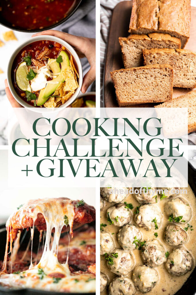 Enter the Ahead of Thyme Cooking Challenge every month for a chance to win a gift card. Simply cook one of our recipes, take a picture, and post it. | aheadofthyme.com