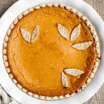 Pumpkin mascarpone pie is a warm and cozy holiday dessert that is incredibly easy to make with just minutes of prep work before popping into the oven. | aheadofthyme.com